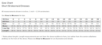 Bridesmaid Dress Size Chart F19743