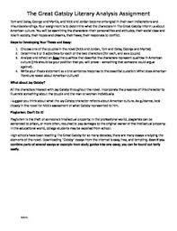 the great gatsby literary analysis assignment essay tpt the great gatsby literary analysis assignment essay