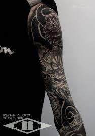 татуировка рукав япония на руке в стиле япония мастер дмитрий