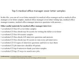 Medical Office Manager Cover Letter Top 5 Medical Office Manager Cover Letter Samples