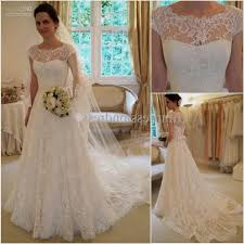 A Line Lace Wedding Dresses With Sleeves Naf Dresses