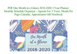 At A Glance Organizer Pdf Download One Month At A Glance 2018 2020 3 Year Planner