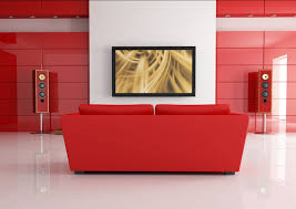 White And Red Living Room Living Room Interior Design Red Wall Sofa White Lighting