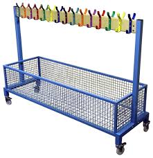 School Coat Rack BS100 single rail mobile rack with mesh bag basket School 53