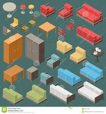 isometric office furniture vector collection. Isometric Furniture Set Office Vector Collection O