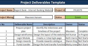 Deliverables Template Project Deliverables Template Download Project Management