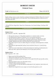 Resume Pediatric Nurse Pediatric Nurse Resume Samples Qwikresume