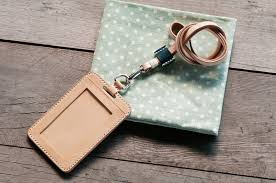 natural vegetable tanned custom leather id holder vertical leather lanyard included free color selection handmade macondo leather handicraft
