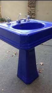 vintage bathroom pedestal sinks. Vintage Beachhouse Coastal Blue Pedestal Sink, You Can Ship Bathroom Sinks E