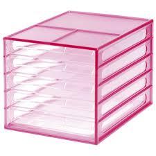 j burrows desktop file storage organiser 5 drawer pink