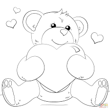 Small Picture Cute Bear with Heart coloring page Free Printable Coloring Pages