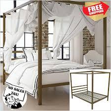 Metal Canopy Bed Frame Queen Size W Headboard Platform Modern S ...