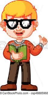 kids boy carrying book cartoon csp48885968