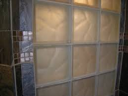 frosted and colored glass block shower window close up