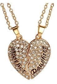 rowena j gold tone mother and daughter crystal broken heart necklace 2 piece anti tarnish pendant j 371 com