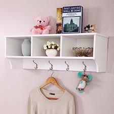 "Cubby Wall Organizer With Coat Rack Amazon LAZYMOON 100""L Wall Mount Storage Shelf Cubby Coat Rack 84"