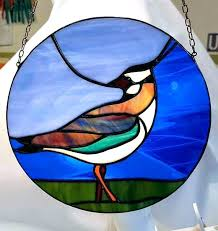 birds on a wire stained glass pattern next window art panel