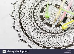 coloring book new stress relieving trend art therapy mental health creativity and mindfulness concept coloring page with pastel color