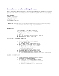 Example College Resume Sample High School For In Examples Of