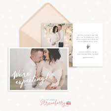 Pregnancy Template Pregnancy Announcement Photo Card Template Strawberry Kit