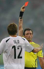 Referee Martin Vazquez shows a red card to Steven Old of New Zealand...  News Photo - Getty Images