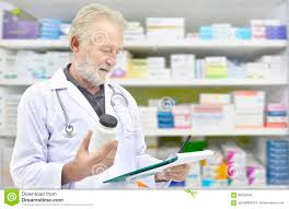 Chart Shelves Senior Doctor Looking Medicine Bottle And Patient Chart On