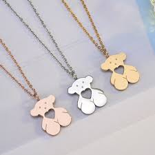 details about 18k gold rose white gold filled tous teddy bear design pendant necklace