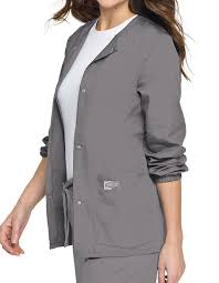 La 75221 Landau Scrubzone 28 Inch Women Snap Front Warm Up Jacket