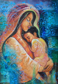 hand painted mother child