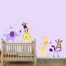 purple nursery jungle wall decals with lion wall decal for girls rooms