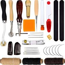 32 pieces hand sewing tool kit leather craft tools sching tools include thimble waxed thread awl