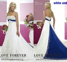discount wedding dress stores. 2016 vintage style plus size wedding dresses silver embroidery on satin white and royal blue floor length dress custom made discount stores
