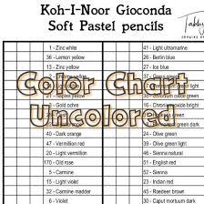 Koh I Noor Gioconda Soft Pastel Pencils Color Chart 48 Colors