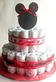 Amazoncom Red And Black 2 Tiered Minnie Mouse Diaper Cake Handmade