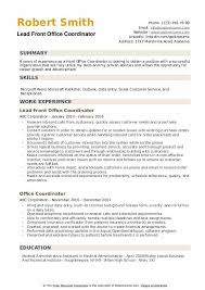 resume for front desk front office coordinator resume samples qwikresume