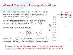 allowed energies of hydrogen like atoms the schrödinger equation can be solved for an electron