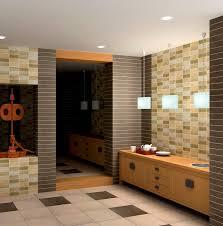 bathroom: Wonderful Mosaic Tile Bathroom Applied At Modern Bathroom Which  Is Enlightened By Trio Pendant