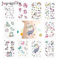 JOY ENLIFE <b>3pcs</b> Rocooart <b>Cartoon Unicorn</b> Tattoos Kids Children ...