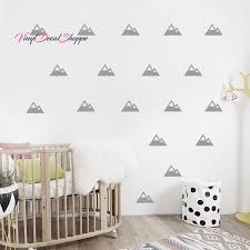 mountain pattern wall decal nursery wall decor wall paper chic baby nursery baby boy baby girl neutral baby wall decor kids room