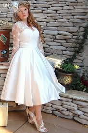 plus size wedding dresses with sleeves tea length vintage style long sleeve tea length lace plus size wedding dresses