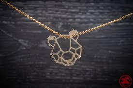 geometric bear face pendant 24k gold plated