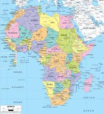 african political map includes north west east and southern