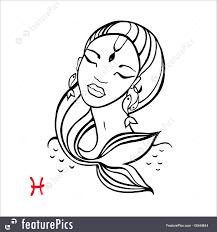Pisces Zodiac Beautiful Fashion Girl Illustration