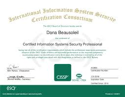 cissp diploma certified information systems security professional dana beausoleil wim remes chairperson jennifer minella secretary p