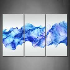3 panels wall painting blue smoked abstract canvas modern home room wall decor art hd large print picture poster in painting calligraphy from home  on wall paintings artistic with 3 panels wall painting blue smoked abstract canvas modern home room