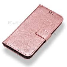 imprint elephant leather wallet case for huawei p smart enjoy 7s rose gold