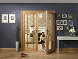 excellent wooden interior double doors with glass and dark grey wall paint also white entryway table idea