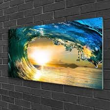 glass prints image wall art rocks sea