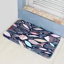 Carpet Mat Design 45 75cm Bathroom Shower Bath Mat Non Slip Back Carpet Mat Toilet Rug Leaves Design