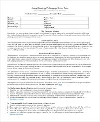 Employee Comments On Performance Evaluation Sample Employee Review Form 7 Examples In Pdf Word